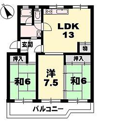 膳所ハイツ11号棟[5階]の間取り