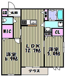 クラヴィーア上野芝[2階]の間取り