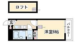 愛知県名古屋市昭和区石仏町2丁目の賃貸アパートの間取り