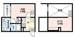 愛知県春日井市勝川町5丁目の賃貸アパートの間取り
