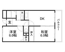 大阪モノレール 大日駅 徒歩23分の賃貸マンション 5階2DKの間取り