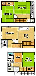 [一戸建] 大阪府富田林市富田林町 の賃貸【/】の間取り