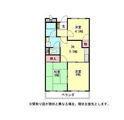 愛知県岩倉市東町長山の賃貸マンションの間取り