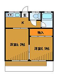 東京都府中市栄町の賃貸アパートの間取り