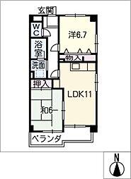 メゾン・シャン・ビラージ多加木[3階]の間取り