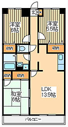 JR南武線 谷保駅 徒歩17分の賃貸マンション 6階3LDKの間取り