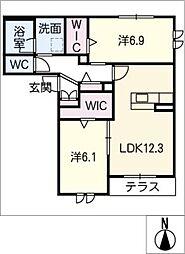 仮)シャーメゾン平安 1階2SLDKの間取り