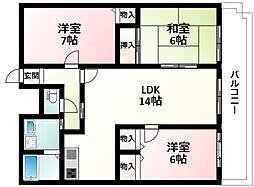 北大阪急行電鉄 緑地公園駅 徒歩3分の賃貸マンション 5階3LDKの間取り