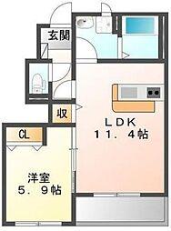 味間南1新築アパート[1階]の間取り
