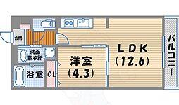 阪急今津線 西宮北口駅 徒歩13分の賃貸マンション 4階1LDKの間取り
