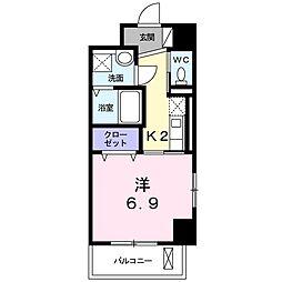JR東海道本線 浜松駅 徒歩5分の賃貸マンション 6階1Kの間取り