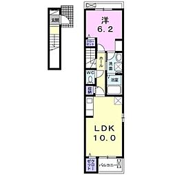 JR京浜東北・根岸線 大宮駅 バス18分 片柳郵便局下車 徒歩3分の賃貸アパート 2階1LDKの間取り
