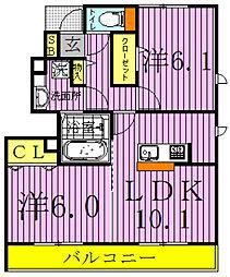 千葉県野田市鶴奉の賃貸アパートの間取り