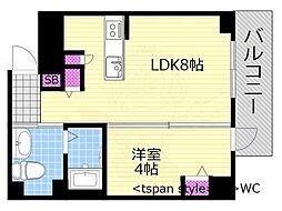 Osaka Metro千日前線 西長堀駅 徒歩4分の賃貸マンション 5階1LDKの間取り