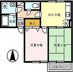 広島県福山市手城町1の賃貸アパートの間取り