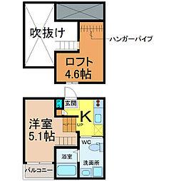 愛知県名古屋市中川区三ツ池町2の賃貸アパートの間取り