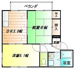 くすの木ハイツ A棟[2階]の間取り