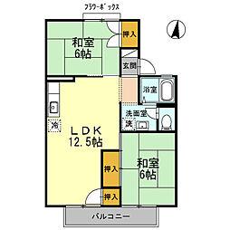 セジュール萩原[2階]の間取り