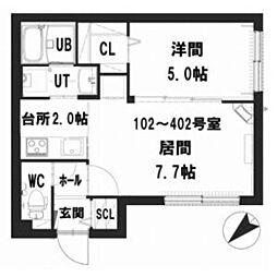 仮)グランメール 東札幌6-5 4階1LDKの間取り