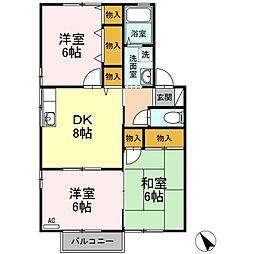 ファミール矢田A棟[A202号室]の間取り