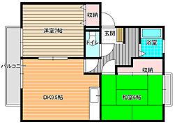 サンビレッジOKUNO[C202号室]の間取り