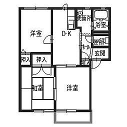 ルネ熊取[2階]の間取り