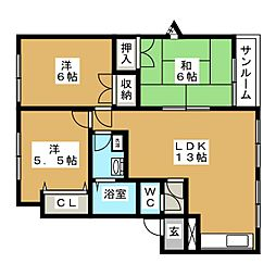 メイユール中央A[1階]の間取り