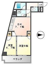 ハニーハイツ渡辺II[6階]の間取り