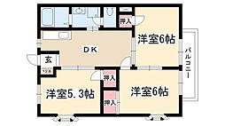 ルフラン小幡A・B[B102号室]の間取り