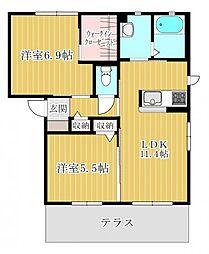 埼玉県坂戸市にっさい花みず木3丁目の賃貸アパートの間取り