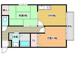 パレス西田[2階]の間取り