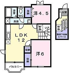兵庫県赤穂市元沖町の賃貸アパートの間取り