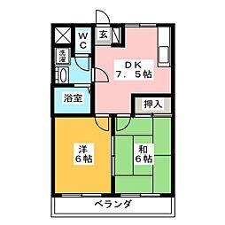 セゾン梅坪[3階]の間取り