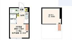 東京都新宿区山吹町の賃貸アパートの間取り