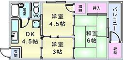 待兼山荘[2号室]の間取り