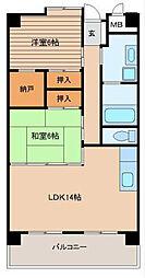 福岡県北九州市小倉南区重住1の賃貸マンションの間取り
