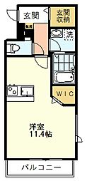 GNOME KUNITACHI(ノーム国立) 2階ワンルームの間取り