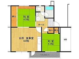 UR逆瀬川住宅[23-202号室]の間取り