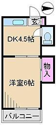 第1クスミ荘[2階]の間取り