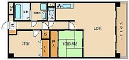 兵庫県姫路市飾磨区城南町2丁目の賃貸マンションの間取り
