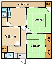 兵庫県尼崎市若王寺3の賃貸マンションの間取り