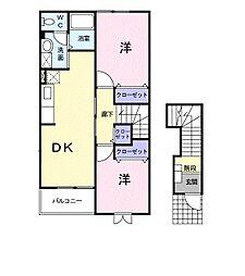 ビサイド・花仙橋Ⅰ[2階]の間取り