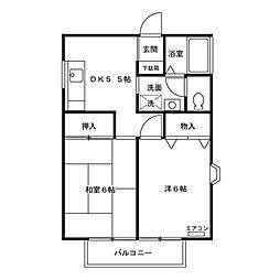 東京都三鷹市大沢1丁目の賃貸アパートの間取り