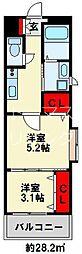 ギャラン竪町Neo 16階2Kの間取り