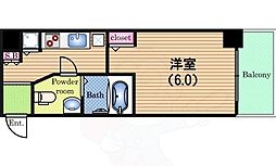 Osaka Metro中央線 阿波座駅 徒歩3分の賃貸マンション 12階1Kの間取り