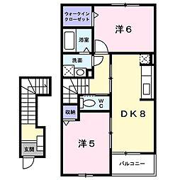 新潟県新潟市江南区砂岡2丁目の賃貸アパートの間取り