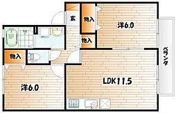 福岡県北九州市小倉南区上吉田4丁目の賃貸アパートの間取り