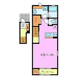 近鉄名古屋線 伊勢朝日駅 徒歩24分の賃貸アパート 2階1Kの間取り