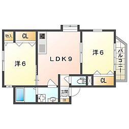 KSアパートメント 1階2LDKの間取り