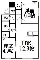 北海道札幌市豊平区平岸一条14丁目の賃貸マンションの間取り